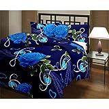 eCraftIndia 220 TC Polycotton Single Blanket - Floral, Blue