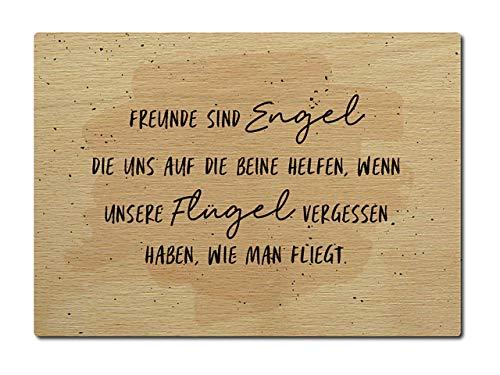 Interluxe Holzpostkarte Freunde sind Engel Flügel fliegen Karte Naturholz Echtholz DIN A6