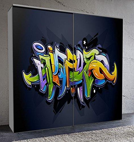 "fashion-cube maxi, Schwebetürenschrank, Frontdesign ""Graffitty 3D"", Maße ca. 212 x 208 x 65 cm"