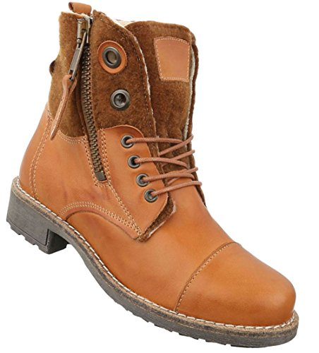Damen Stiefeletten Schuhe Stiefel Warm Gefütterte Leder Boots Beige 36 37 38 39 40 41 Camel