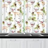 JOCHUAN Kiefer Weihnachtsbaum Zweige Hirsch Tiere Küchenvorhänge Fenster Vorhangebenen für Café, Bad, Wäscherei, Wohnzimmer Schlafzimmer 26 X 39 Zoll 2 Stück