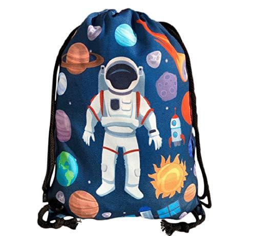 HECKBO bolso de gimnasia para niños con motivos espaciales de astronauta unisex | Jardín de infancia, guardería, viajes, deportes | adecuado como bolsa de gimnasia, mochila, bolsa de juego, bolsa de