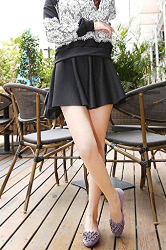 Minetom Floreale Decorazione Estate Scarpe Scarpe Da Moda Ballerina Piatto Ballet Donne Fannullone Viola