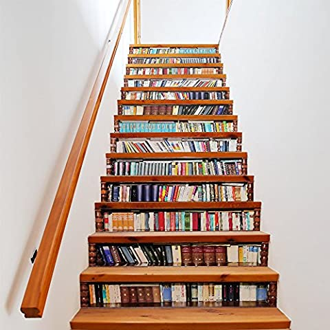 Buluke 13 Stück/Set kreative Heimwerker 3D Simulation Bücherregal Treppe Aufkleber für Haus Treppen Einrichtung