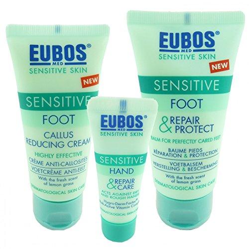 Eubos Sensitive Hand + Fuß Pflege Set - Anti Hornhaut Creme Urea Shea Cream