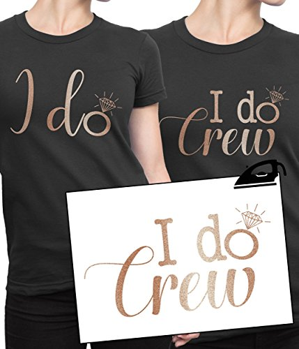 I DO CREW Hen Party Iron On T Shirt Transfer Bride To Be Tribe Squad Hen Rose Gold VINYL