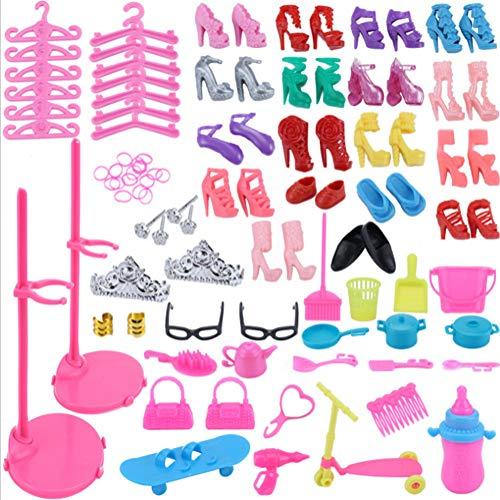 derspielzeug Zubehör Kostüm für Barbie-Puppe Kleiderbügel Shuhe Kammen Handtasche Ohrring Krone Spiegel Luftgebläse ()