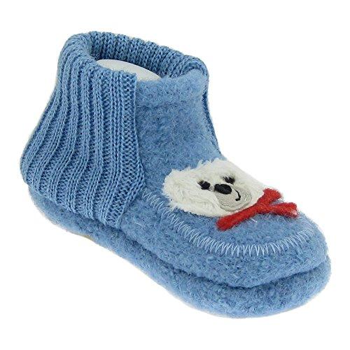 GALLUX - Baby Hausschuhe Krabbelschuhe süße Babyschuhe Babyblau