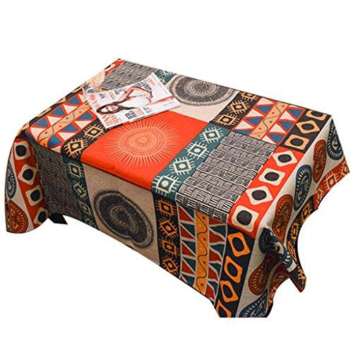 Nappe de tissu de coton de totem de Sun épaissi nappes de salon de table basse ( Color : Orange , Size : 85*85cm )