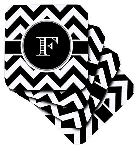 brooklynmeme Designs–Schwarz und Weiß Chevron Monogramm Initiale F–Untersetzer, keramik, schwarz, set-of-4-Ceramic