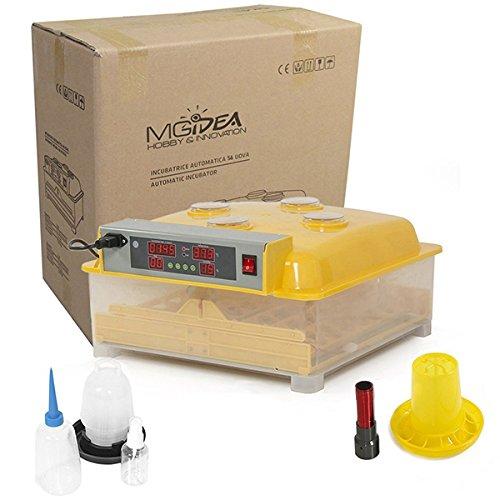 Incubatrice automatica 56 uova incubazione + kit svezzamento pulcini - per gallina, tacchina, faraona, anatra con girauova automatico, termostato, igrometro, display esterni con allarme sonoro