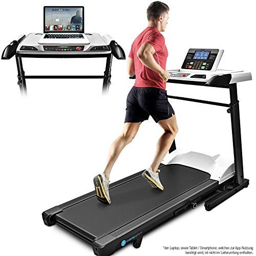 Sportstech innovatives 2in1 Profi Laufband inkl. höhenverstellbarer Schreibtisch DFT500, App kompatible Bluetooth-Konsole, klappbares Schreibtisch-Laufband Deskfit für zu Hause oder im Büro, Office