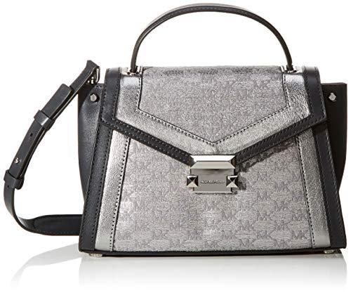 Michael Kors Damen Gingham Elegant Style Handbags Tote, Silber (Silver), 12x17x26 cm