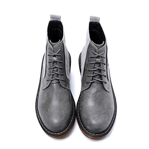 Smilun Damen Kurzschaft Stiefel Reißverschluss Stiefelette Grau