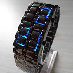 AQY Blue LED Digital Black Lava Style Wrist Watch Iron Metal Samurai Mens