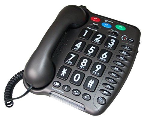 Geemarc AMPLIPOWER40 - Teléfono de teclas grandes con cable (especial para personas con deficiencias auditivas, (importado)