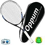 OPPUM Aluminium-Carbon Erwachsene Tennisschläger Set Leichtgewicht Tennis Racket Besaitet mit Abdeckung, Tennis Overgrip, Schwingungsdämpfer