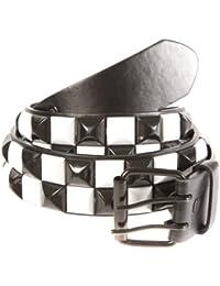 Accessoryo - métallique 2 rangs noir et blanc chèque ceinture noire cloutée disponible dans une sélection de tailles