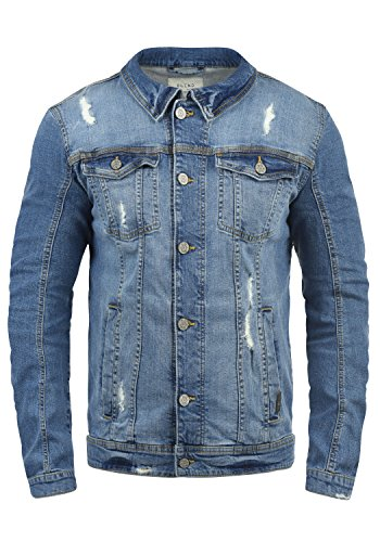 Blend Saitz Herren Jeansjacke Denim Übergangsjacke Mit Stehkragen Washed-Out Regular Fit, Größe:L, Farbe:Denim middleblue (76201)