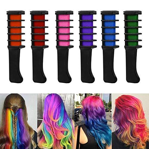 Kisshes BeautyBox - Peigne à Craie pour Cheveux ? Coloration temporaire des cheveux ? Brosse couleurs ? Set de 6 pièces : rouge, rose, vert, violet, orange et bleu