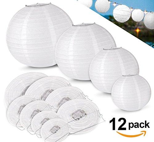 12pcs Lampion Papier Blanc ilauke Lanterne Blanche à Papier Rond Lampe pour Anniversaire Décorations de Mariage Décorations Artisanales