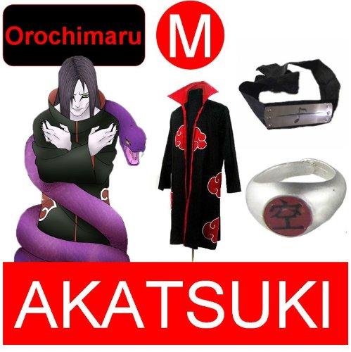 Naruto costume cosplay Set per Orochimaru- Akatsuki Mantello + anello Akatsuki Orochimaru+ fascia, taglia M (altezza 160 cm-168 cm)