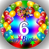 Fondant Tortenaufleger Tortenbild Geburtstag Paw Patrol Zahl C6
