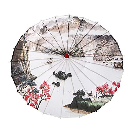 Yalatan Öl-Papier-Regenschirm, chinesischer Landschaftsmalerei-Sonnenschirm-dekorativer Öl-Papier-Regenschirm, klassisches Cheongsam, das Tanz-Regenschirm-Foto-Stützen durchführt