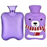 Botella de Agua Caliente , Sararoom Bolsa de Agua Caliente2L de Gran Capacidad con Tapa de Botella Lavable de Punto Extraíble para Uso en Caliente o Frío , Gris