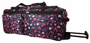 "Womens Girls Hearts Hand Luggage Maternity Gym Wheeled Travel Bag (Grey/Pink/Purple/White) (18"", 20"", 26"", 30"")"