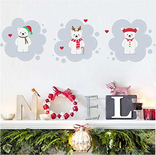 zpbzambm Lovely Bear Happy New Year Wall Stickers Kids Rooms Store Window Decor Cartoon Wall Decals Mural Art Posters