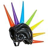 Amakando Punker Boxhelm Faschingshelm mit Spikes aufblasbar 90 cm Punk Iro Kopfbedeckung Irokesen Helm Karnevalskostüme Zubehör 80er Jahre Mottoparty Accessoire Rocker Gummihelm