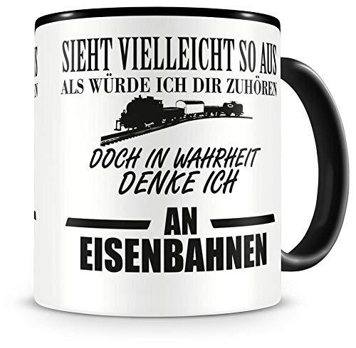 Samunshi® Ich denke an Eisenbahnen Tasse Kaffeetasse Teetasse Kaffeepott Kaffeebecher Becher Nr.1: schwarz/schwarz H:95mm / D:82mm