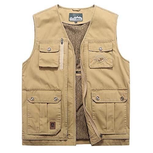 Unbekannt WTL Pocket Weste Casual Weste für Herren Mehrfach-Reißverschluss-Baumwollweste im mittleren Alter (Farbe : Khaki, größe : 9XL) Pocket Weste