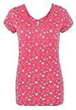 Sublevel Damen T-Shirt mit Allover-Sternen-Print | Leicht Tailliertes Shirt im Melange Look Pink S