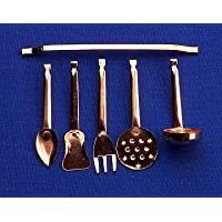 12th Scale Dolls House Kitchen Accessory - Copper Utensils With Rack S10421