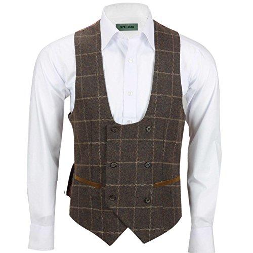 Xposed Herren Blazer Anzug, Karo * Waistcoat-U Neck-Earth Brown