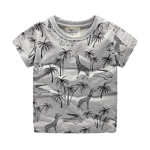Giulogre Manches Courtes Dinosaure Tigre Garçon Manches Courtes Chemise Bébé Imprimé Cartoon Cotton T-Shirt pour 12 Mois - 6 Ans Enfants Unisex