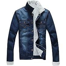 ZKOO Hombre Clásico Chaqueta De Mezclilla con Forro de Terciopelo Invierno Chaqueta De Vaquero Denim Jacket Abrigo Calentar Casual