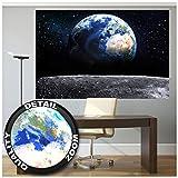 Great Art Poster Fotografico Pianeta Terra Decorazione per pareti Mondo Earth Luna Galaxy Universo Spazio Cosmo Space Globo Terrestre Stelle Moon I Fotomurales by 210x140 cm