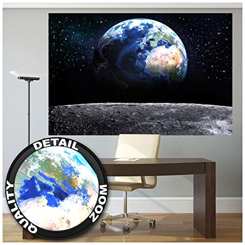 Great Art XXL Poster - Blick auf die Erde aus dem Weltall - Wandbild Dekoration Welt Mond Sky Planet Galaxy Universum All Kosmos Weltkugel Sterne Fotoposter Wanddeko Bild (140 x 100 cm)