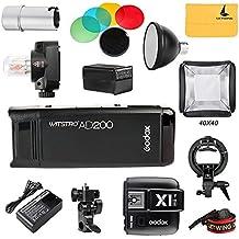Godox 2.4 TTL HSS Dos cabezas AD200 200w Flash+ X1T-S Disparador+ Flash Bulbo Protector Cubierta+ Reflector y Color Filtro+40x40 Softbox Kit para Sony Cámaras(AD200 set 1)