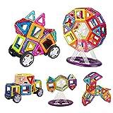 INTEY Magnetische Bausteine 66 Magnetische Konstruktionsbausteine Kleinkinder magnetische Bauklötze für Kinder ab 3 Jahren(Geburtstags oder Schulgeschenk) fördert die Kreativität und Konzentration