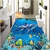Mbwlkj Benutzerdefinierte Fotowand Papier 3D Stereo Unterwasser Delfine 3D Bodenfliesen Wandbilder Badezimmer Wohnzimmer Wasserdichte Pvc Tapeten-250cmx175cm