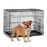 Relaxdays 10023299_59  Hundekäfig faltbar, Auto Transportbox, Welpenkäfig, für  große Hunde, Metall Gitterbox mit Schale, L, schwarz