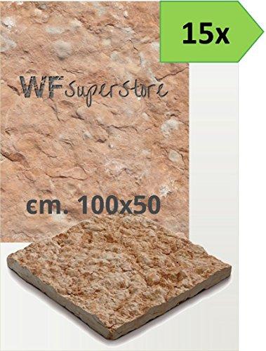 Pavimento in pietra 100x50 rustico - 15 pezzi - mattonella piastrella giardino