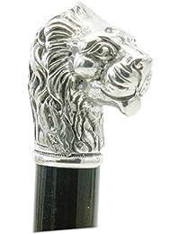 Cannes lion de marche,bois et robuste lion cérémonie élégante orthopédique élégant étain vintage Cavagnini made in italy