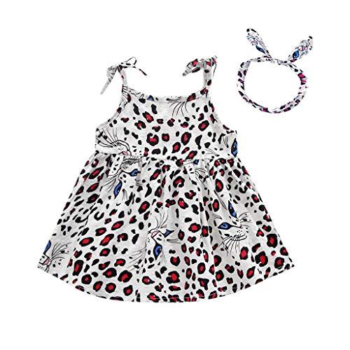 Alwayswin Baby Mädchen Ärmelloses Leopardenkleid für Kinder Bedrucktes Trägerkleid Kleinkind Kind Party Prinzessin Kleid Kleidung Freizeit Lose Rundhals Kleid Sommer EIN kurzes Kleid (Halloween Biker-mädchen-ideen Für)