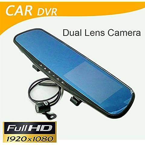 Coche DVR Dual cámara Espejo retrovisor Dash Cam G-sensor HD 1080P 4.3Alta calidad de 140grados cámara de visión trasera
