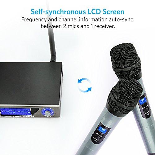 Wireless Mikrofon, UHF Funkmikrofon set Mikrofon System Karaoke Mikrofon Professional Dual 2 Handmikrofon Set Drahtloses Mikrofonsystem mit LCD Display für Outdoor Hochzeit, Konferenz, Karaoke usw. - 4